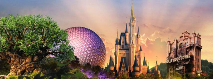A banner image containing monuments of the Walt Disney World Parks