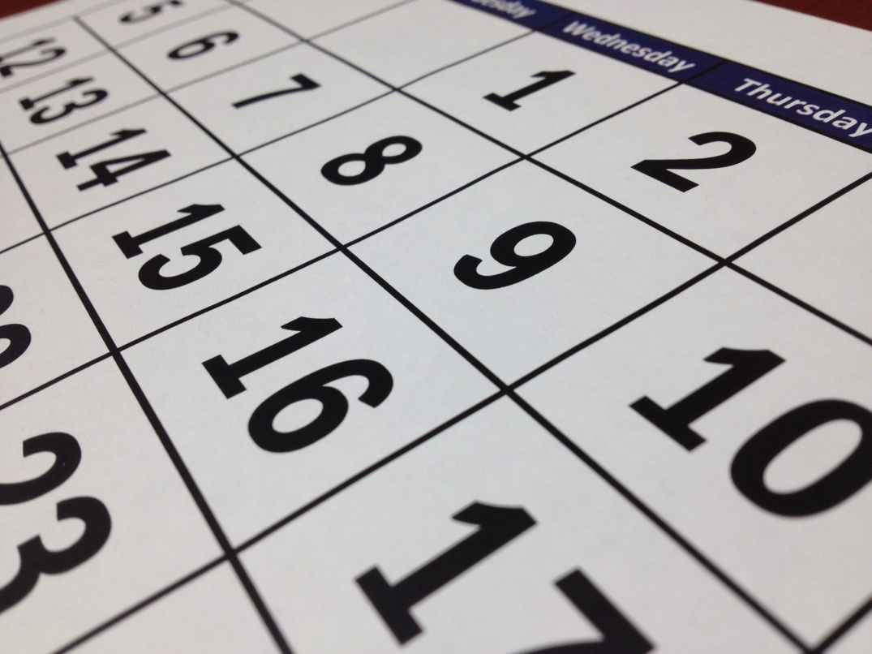 A close up photo of a calendar